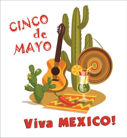 39049424 - cinco de mayo illustration with traditional mexican symbols.